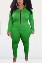 Green Fashion Street Adult Polyester Solid Split Joint O Neck Plus Size