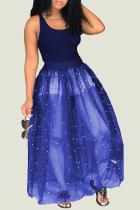 Blue Brief Cute O-Neck Sleeveless Loose Long Club Dresses