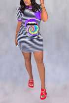 purple Polyester Fashion Casual adult Red Pink Wine Red purple Cap Sleeve Short Sleeves O neck A-Line Mini Striped Print Patchwork Tie and dye Tongue Dresses