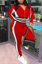 Red Casual Sportswear Patchwork Basic Zipper Collar Long Sleeve Two Pieces
