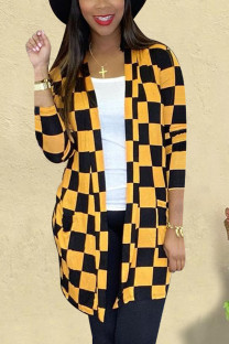 Yellow Casual Plaid Split Joint O Neck Outerwear