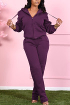 purple Fashion Casual Adult Polyester Solid Draw String Hooded Collar Long Sleeve Regular Sleeve Regular Two Pieces