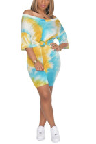 Green Polyester Fashion Sexy adult Patchwork Print Tie Dye Two Piece Suits Straight Short Sleeve Two Pieces