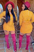 Yellow Fashion Long Sleeves O neck Hip skirt Mini Striped Long Sleeve Dresses