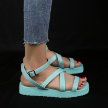 Light Blue Fashion Casual Round Out Door Leather Shoes