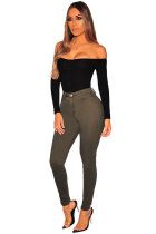 Black Polyester Button Fly Long Sleeve High Patchwork Skinny shorts Jumpsuits & Rompers