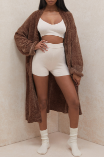 Brown Casual Solid Split Joint Halter Outerwear