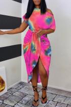 Pink Fashion Casual Print Tie Dye Asymmetrical Oblique Collar Short Sleeve Dress