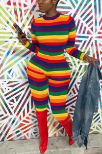 Rainbow Color Fashion Casual Striped Print Basic O Neck Skinny Jumpsuits
