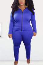 Color blue Fashion Street Adult Polyester Solid Split Joint O Neck Plus Size
