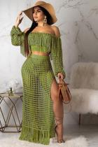 Army Green Polyester Sexy Fashion HOLLOWED OUT Two Piece Suits crop top Split Solid tassel asymmetrical Straigh