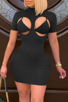 Black Sexy Solid Hollowed Out Half A Turtleneck Short Sleeve Two Pieces