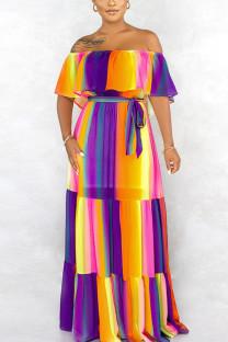 colour Fashion Street Polyester Print Bateau Neck Short Sleeve Floor Length A Line Dresses