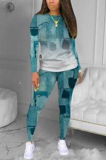 Blue Casual Print O Neck Long Sleeve Two Pieces