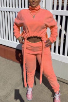 Orange Fashion Street Adult Polyester Solid Draw String Turtleneck Long Sleeve Regular Sleeve Short Two Pieces