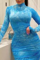 Blue Polyester Fashion adult Ma'am Street Cap Sleeve Long Sleeves O neck Pencil Dress Knee-Length Print Dresses