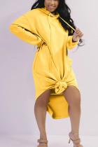Yellow Fashion Solid Hooded Collar Long Sleeve Long Sleeve Dress Dresses