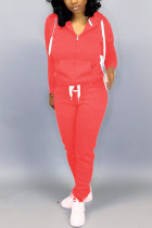 Red Casual Solid Two Piece Suits pencil Long Sleeve Two-piece Pants Set