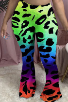 Multi-color Polyester Elastic Fly Mid Leopard camouflage Gradient Boot Cut Pants Bottoms