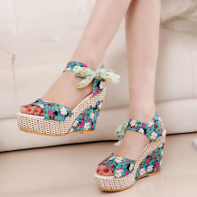 Blue Casual Frenulum Round Out Door Shoes