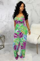 Grass Green Fashion Sexy Patchwork Print Polyester Sleeveless V Neck Jumpsuits