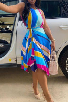 Blue Fashion Casual Print Asymmetrical O Neck Sleeveless Dress