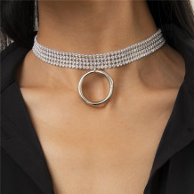 Silver Fashion Simplicity Hollow Ring Pendant Necklace