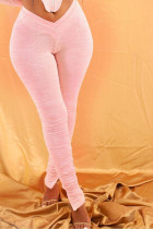 Pink Polyester Elastic Fly High Solid Split Draped Boot Cut Pants Bottoms