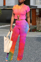 Pink Milk Silk Street Print Solid Tie Dye Straight Sleeveless Two Pieces