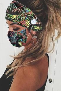 Black Casual Street Mixed Printing Print Mask