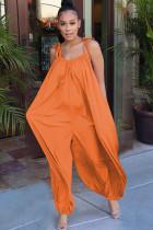 Orange Casual bandage Solid nylon Sleeveless V Neck Jumpsuits