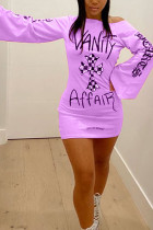 purple Fashion Street Adult Polyester Print Letter Oblique Collar Long Sleeve Mini Printed Dress Dresses