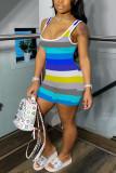 Multi-color street Striped Milk. Short Sleeve Slip Jumpsuits
