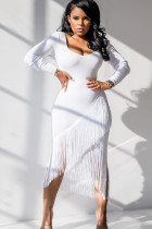 White Polyester Sexy Cap Sleeve Long Sleeves V Neck Asymmetrical Mid-Calf tassel Solid Patchwork
