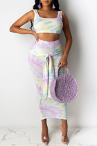 Purple Sexy Patchwork Tie-dye Square Collar Sleeveless Two Pieces