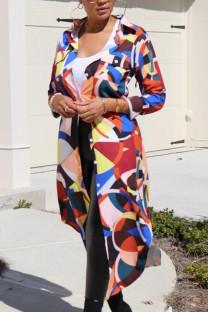 Multi-color Fashion Street Adult Polyester Geometric Print Split Joint Cardigan Turn-back Collar Outerwear