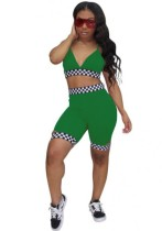 Green Bright Sexy & Club Sleeveless Two Piece Clothes