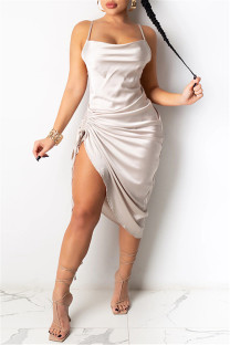 Cream White Fashion Sexy Solid Draw String Backless Square Collar Sling Dress