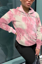 Pink Fashion Street Adult Polyester Print Tie-dye Hooded Collar Outerwear