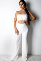 White Polyester Fashion Sexy Patchwork Solid Lace Trim Casual Two-piece Pants Set