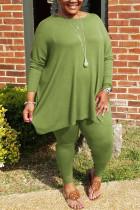 Green Fashion Casual Solid Basic O Neck Plus Size Set