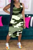 Camouflage Fashion Casual Camouflage Print Basic U Neck Vest Dress