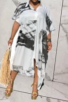Black Casual Patchwork Tie-dye Turndown Collar Shirt Dress Dresses
