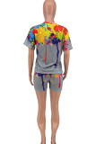 White Casual Living Print O Neck Short Sleeve Two Pieces