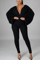 Black Fashion Casual Solid Without Belt V Neck Skinny Jumpsuits