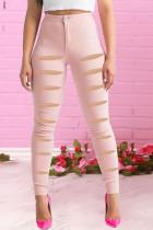 Pink Street Solid Ripped High Waist Skinny Denim
