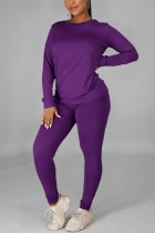Purple Casual Solid Basic O Neck Long Sleeve Two Pieces