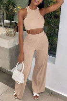 Apricot Fashion Casual Solid Vests Pants O Neck Sleeveless Two Pieces