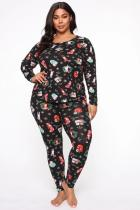 Black Polyester Fashion Casual adult Patchwork Print Two Piece Suits pencil Long Sleeve Two Pieces