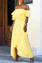 Yellow Sexy Casual Dot Print Backless Off the Shoulder Irregular Dress Dresses
